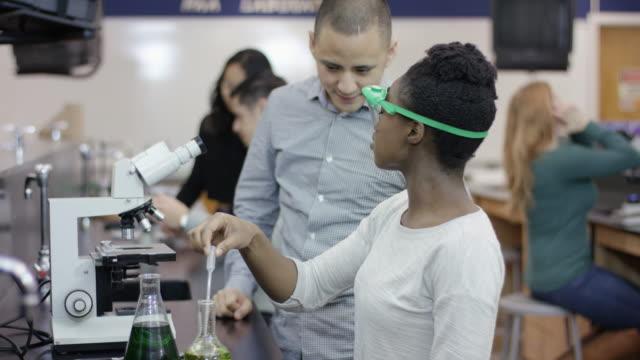 vidéos et rushes de étudiants de l'université étudient au labo - multi ethnic group