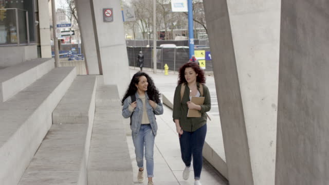 university students walk to class together - fat camera stock videos and b-roll footage