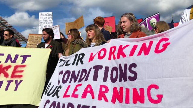 university workers attend a rally outside the scottish parliament on march 8 2018 in edinburgh scotland staff from scottish universities were joined... - pension stock videos & royalty-free footage