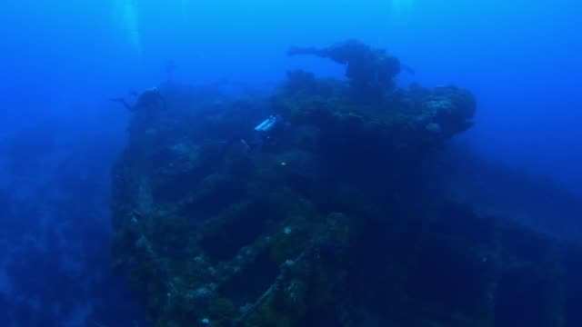 unkai maru bow, underwater wrecks, truk lagoon, chuuk micronesia - exploration stock videos & royalty-free footage