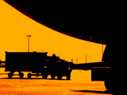 Unloading aircraft silhouette