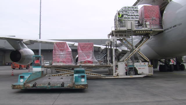 ms unloading luggage from cargo airplane at cargo center / findel-airport, luxembourg, luxembourg-city, luxembourg - 積荷を降ろす点の映像素材/bロール