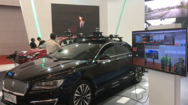 unmanned driving system shown on the 2nd world intelligence congress held in tianjin meijiang exhibition center from may 1618 2018 the system is... - driverless car stock videos & royalty-free footage