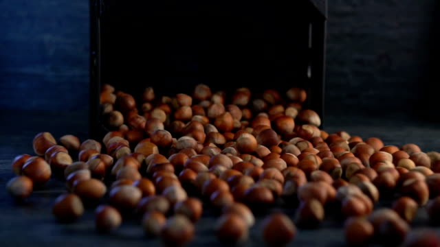 unpeeled hazelnuts are poured out of it on wooden background - nutshell stock videos and b-roll footage
