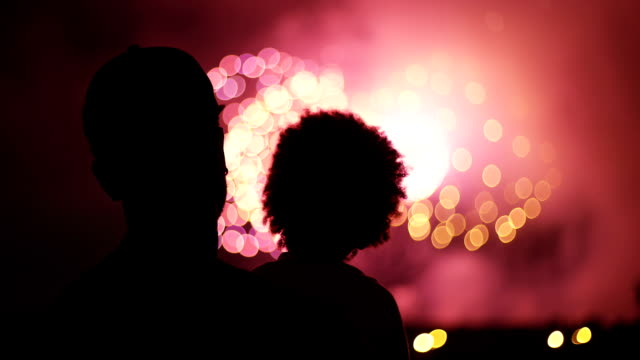 Unrecognizable family watching fireworks