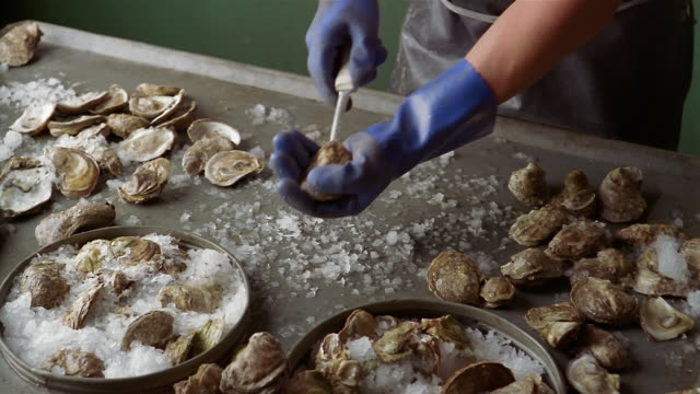 cu unrecognizable person opening oyster with pearl - pearl stock videos and b-roll footage