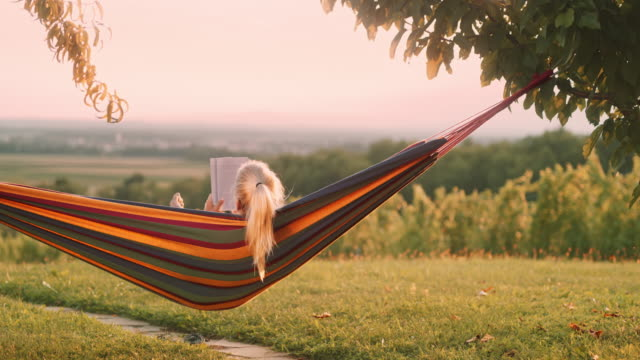 ds unrecognizable woman reading a book in a hammock - hammock stock videos & royalty-free footage