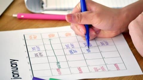 oigenkännlig kvinna schemalägger nyårslöften i sin kalender - planering bildbanksvideor och videomaterial från bakom kulisserna