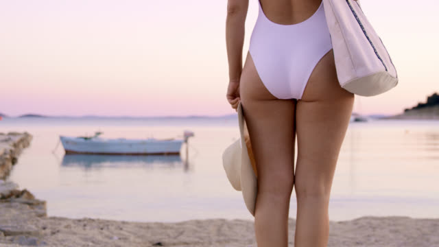 ds unrecognizable woman standing on a pier - swimwear stock videos & royalty-free footage