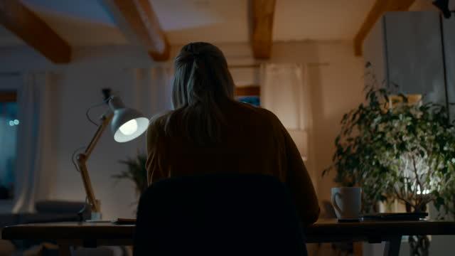 夜にラップトップで働くds認識できない女性 - 座る点の映像素材/bロール