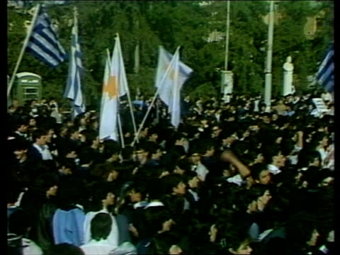 unrest at turkish udi declaration cyprus nicosia ms student demonstrators towards carrying cypriot and greek flags ms greek flag tilt down... - キプロス ニコシア点の映像素材/bロール
