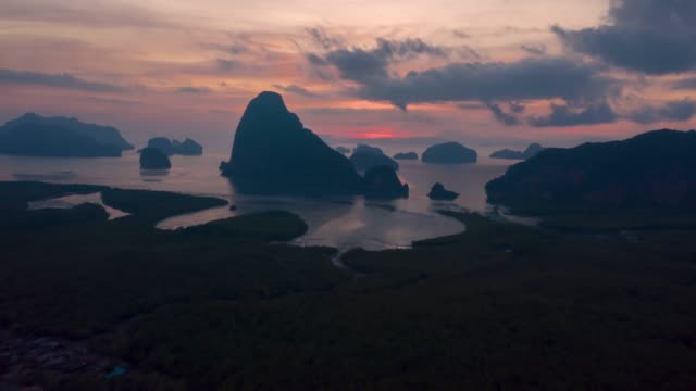 Unseen Thailand : 4K Footage Aerial view hyper lapse  of Phang nga bay in sunrise, Thailand