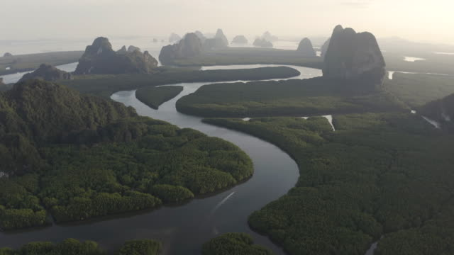 Unseen Thailand : 4K Footage Aerial view of Phang nga bay in sunset, Thailand