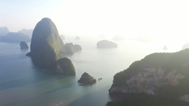 unseen thailand : 4k footage aerial view of phang nga bay in the morning - island stock videos & royalty-free footage