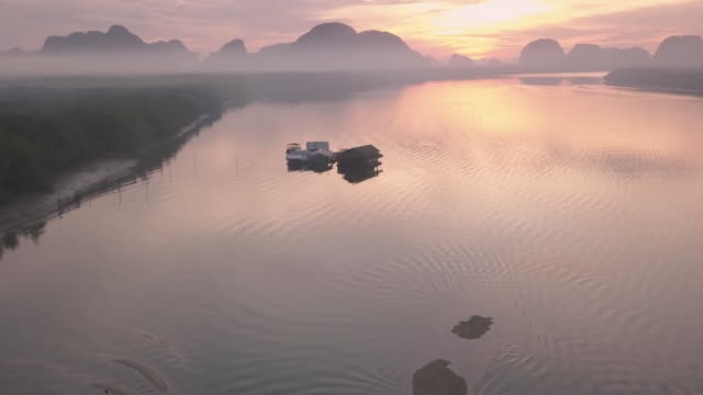 unseen thailand : footage aerial view of phang nga bay in the morning - phang nga bay stock videos and b-roll footage