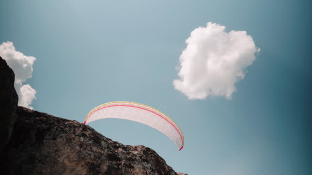 ws pov unsuccesfull taking-off of a paragliding pilot seen from below, flying, cross country pilot, extreme sports, adventure - extreme sports point of view stock videos & royalty-free footage