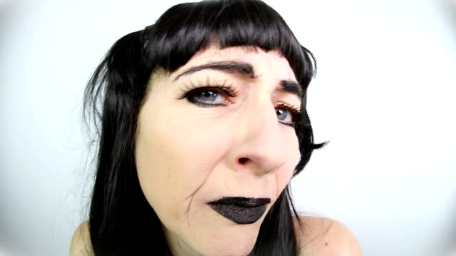 unsure old goth chick - ugliness stock videos & royalty-free footage