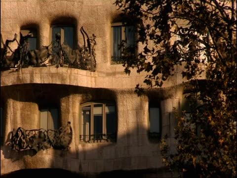 Unusual sculptures highlight Gaudi's La Pedrera apartments in Barcelona Spain.