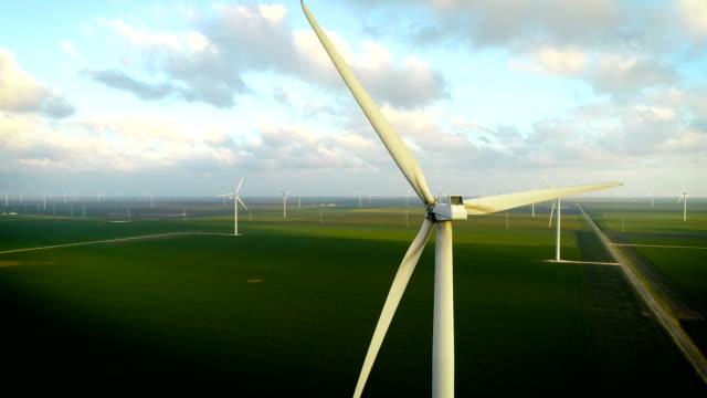 up and away from wind turbines along green coastal wind farm - corpus christi texas stock videos & royalty-free footage