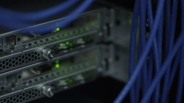 up close view of networking cables - netzwerkadministrator stock-videos und b-roll-filmmaterial