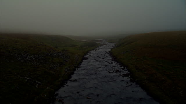 up misty river tees  - aerial view - england, united kingdom - tees river stock videos and b-roll footage