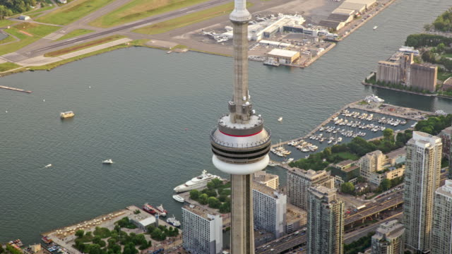 aerial up the cn tower in toronto, ontario - waterfront stock videos & royalty-free footage