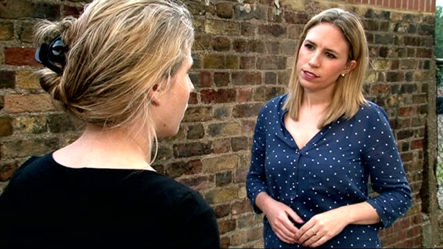 Update on victims of Twitter abuse ENGLAND EXT Caroline CriadoPerez set up shots with reporter / interview SOT