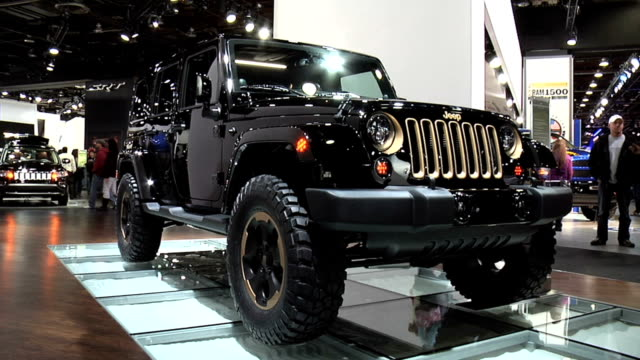 stockvideo's en b-roll-footage met front three-quarter passenger side view of jeep dragon / front end / looking down on hood / driver side profile / chinese dragon character / info... - sports utility vehicle