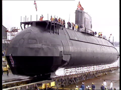 'Upholder' Class submarine problems Feb 1991 MS Champagne hits 'HMS Ursula' MS Ursula down slipway as launched LMS Ursula in water with construction...