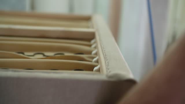 upholstery workshop, carpenter - legno video stock e b–roll