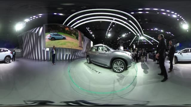*Upload to supported player to view in 3D mode* A Fuji Heavy Industries Ltd Subaru Ascent sport utility vehicle concept silver and 2018 Crosstrek...