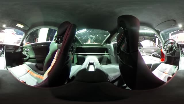 *Upload to supported player to view in 3D mode* The interior of a Porsche Automobil Holding SE 911 GT3 vehicle sits on display during the 2017 New...