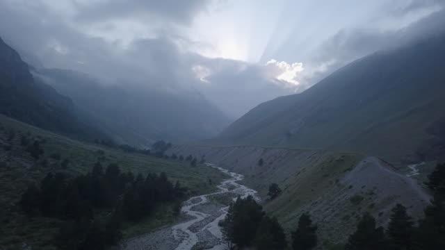 upper baksan valley drone footage - kaukasus geografische lage stock-videos und b-roll-filmmaterial