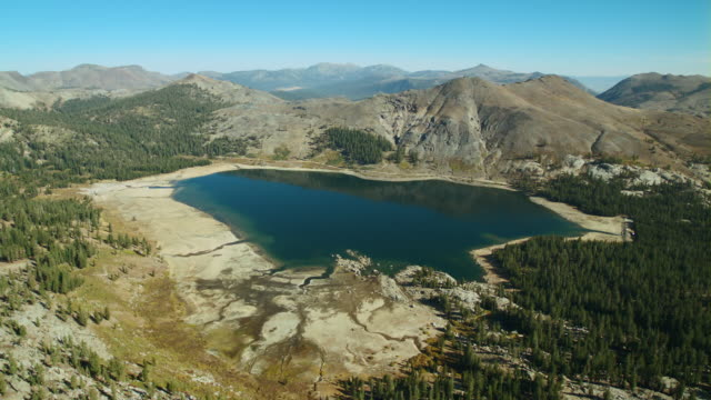 upper blue lake lies at the base of the nipple in the mokelumne wilderness, eldorado national forest, california. - drought stock videos & royalty-free footage