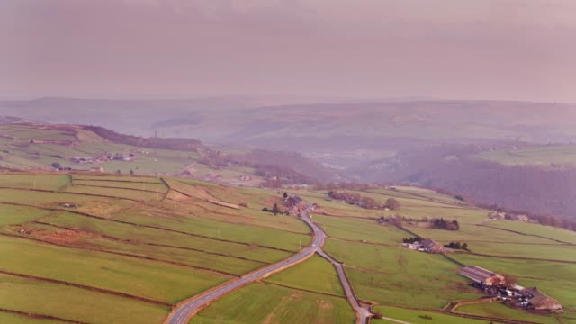 upper calder valley at sunset - drone shot - pennines stock videos & royalty-free footage