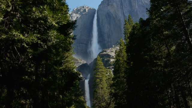 ws upper & lower yosemite falls, looking through opening in trees in yosemite national park, california - upper yosemite falls stock videos & royalty-free footage