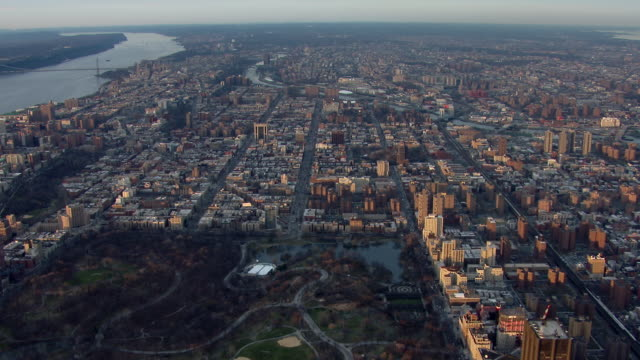 upper manhattan with harlem and the northern end of central park, seen from an aerial perspective. - harlem stock videos & royalty-free footage