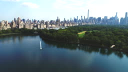 Upper west side Manhattan cityscape with Jacqueline Kennedy Onassis Reservoir
