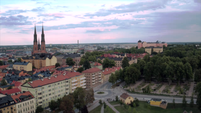 uppsala city from above - uppsala stock videos and b-roll footage