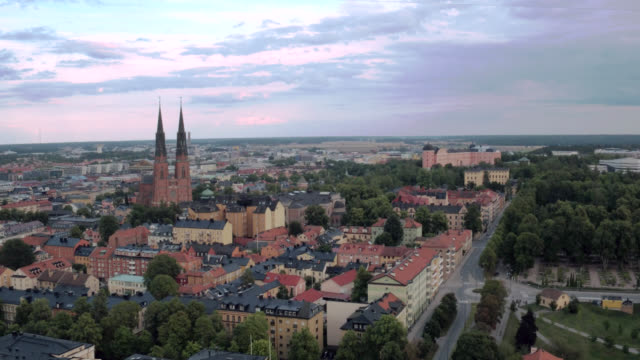 uppsala city from above - pedestrian crossing stock videos & royalty-free footage