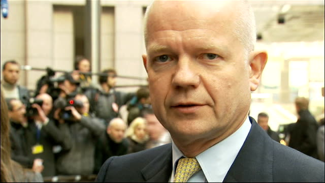 bombardment of homs continues / european union sanctions tightened belgium brussels william hague mp interview sot yesterday's referendum vote has... - will.i.am stock videos and b-roll footage