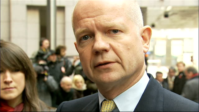 european union sanctions william hague comments belgium brussels ext william hague mp speaking to press on arrival at eu meeting sot most important... - 平和維持点の映像素材/bロール