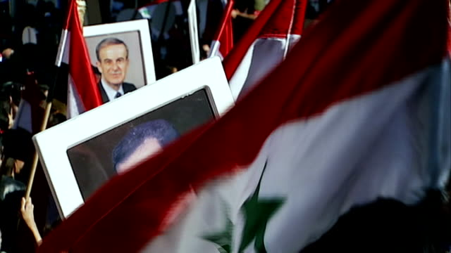 injured british photographer rescued from homs date gvs syrian flags and pictures of syrian president bashar alassad held up by supporters at rally - バッシャール・アル=アサド点の映像素材/bロール