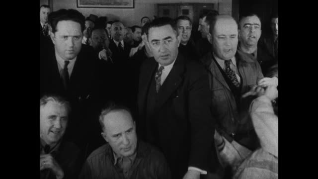 DRAMATIZATION Upset men in town hall SOT man upset doesn't want tariff lifted another man shouting that if they cut the tariff over half the fish...