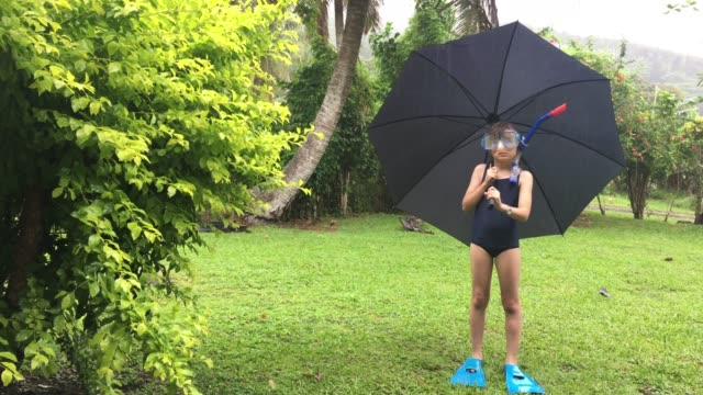 Upset young girl on outdoors vacation holding an umbrella surprised by unexpected tropical rainy day