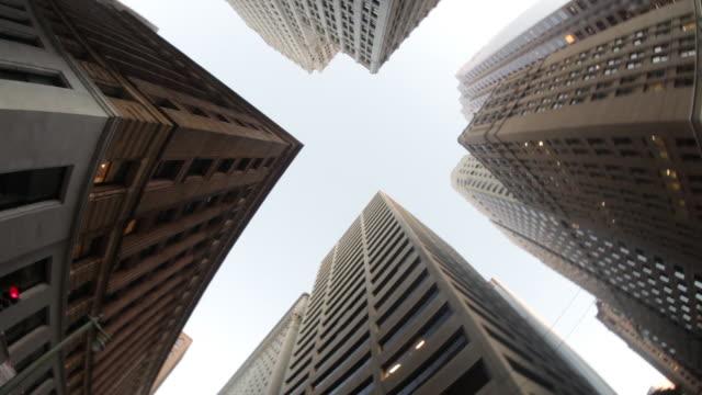 Upward fisheye view of skyscrapers while driving through San Francisco