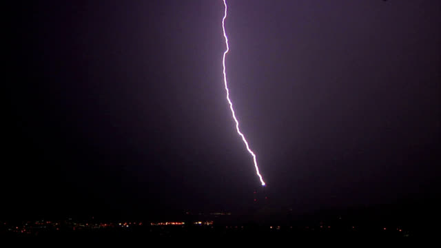 upward lightning strike - temporale video stock e b–roll