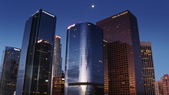 Upward Tiliting Aerial of DTLA Financial District Towers at Dawn