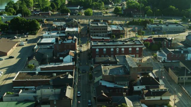 upward tilting drone flight over elizabeth, pennsylvania - tilt up stock videos & royalty-free footage
