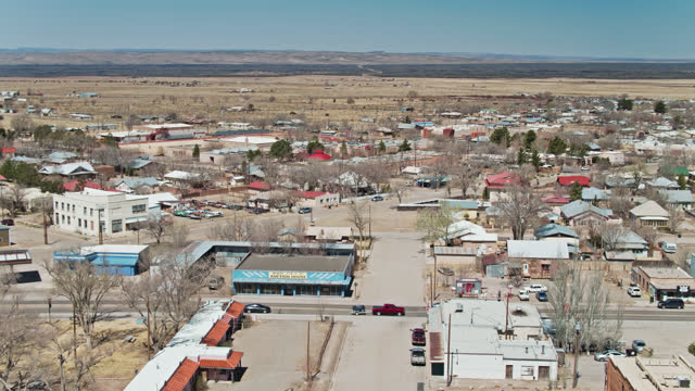 upward tilting drone shot of carrizozo, new mexico - lincoln town car stock videos & royalty-free footage